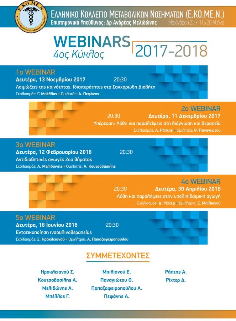 4ος Κύκλος Webinars 2017 – 2018 Ελληνικό Κολλέγιο Μεταβολικών Νοσημάτων (Ε.ΚΟ.ΜΕ.Ν) – 30/04/2018