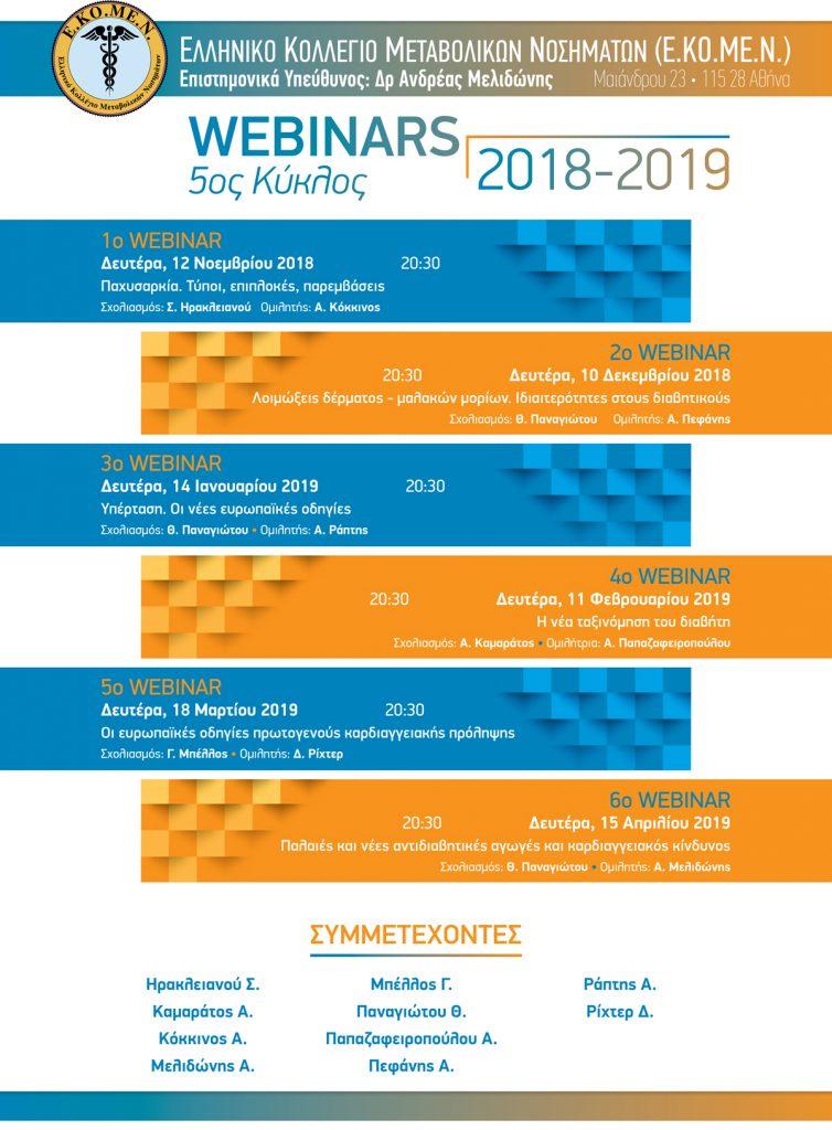 5ος Κύκλος Webinars 2018 – 2019 Ελληνικό Κολλέγιο Μεταβολικών Νοσημάτων (Ε.ΚΟ.ΜΕ.Ν) – 12/11/2018