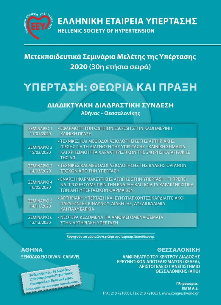 Ετήσια Σεμινάρια Μελέτης της Υπέρτασης 2020 (30η σειρά)