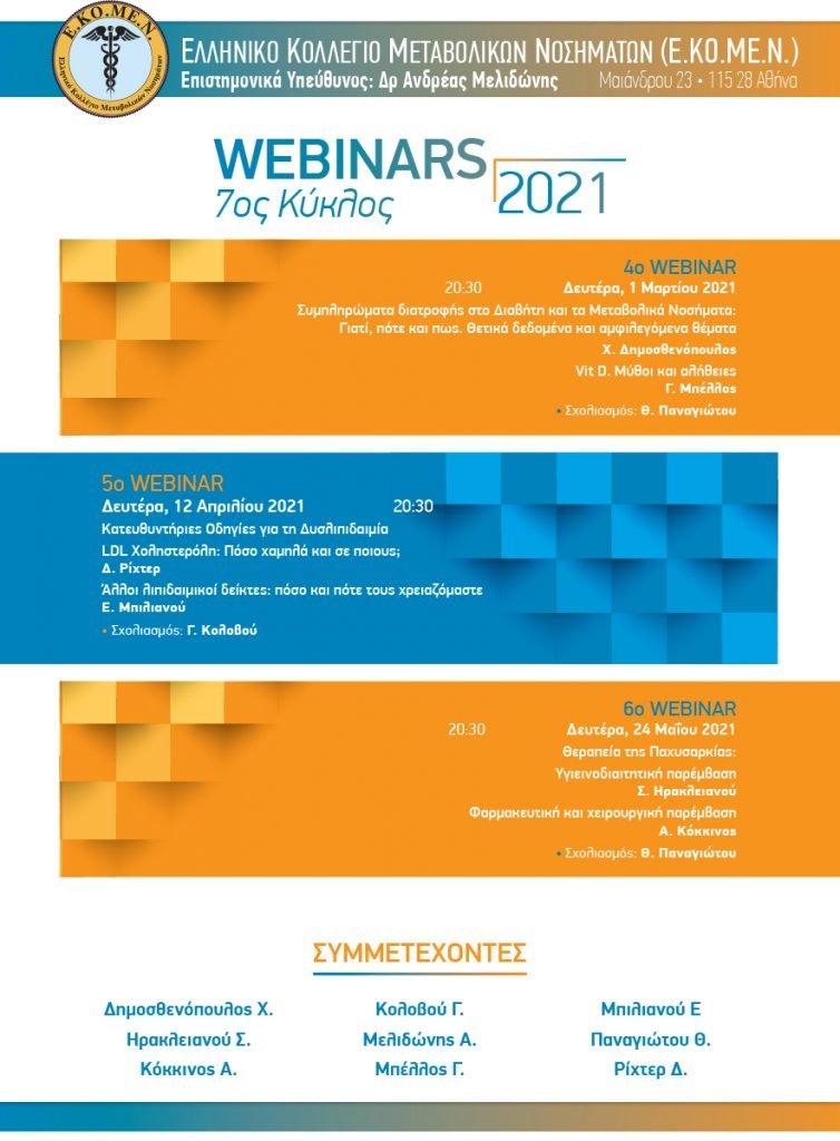6o Webinar – 7ος Κύκλος Webinars 2020 – 2021 ΕΚΟΜΕΝ – 24/5/2021
