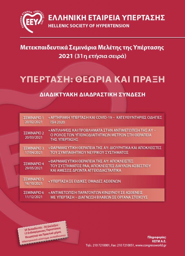 Μετεκπαιδευτικά Σεμινάρια Μελέτης της Υπέρτασης 2021 (31η Ετήσια Σειρά) – 29/05/2021