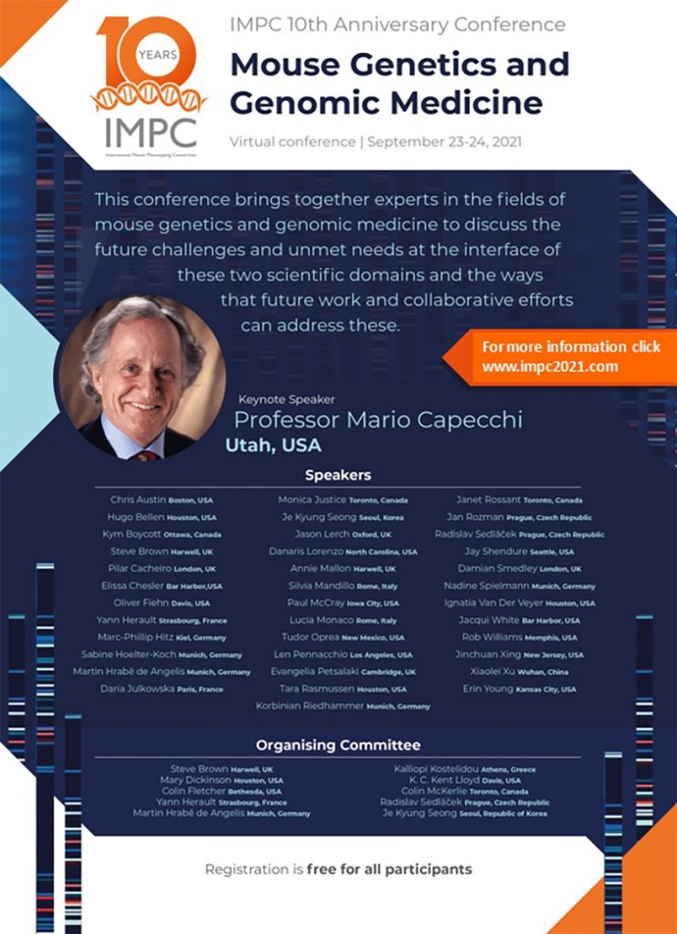 """IMPC 10th Anniversary Virtual Conference """"Mouse Genetics and Genomic Medicine"""""""